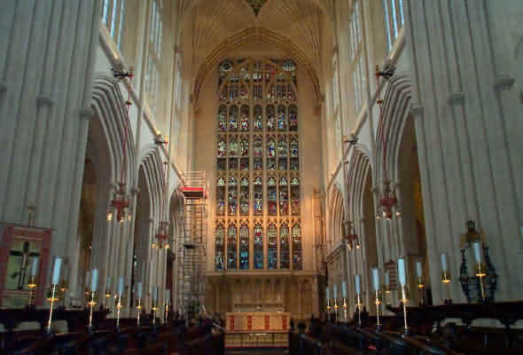 Inside view of Bath Abbey