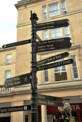 Signpost to Attrtourist actions in Bath