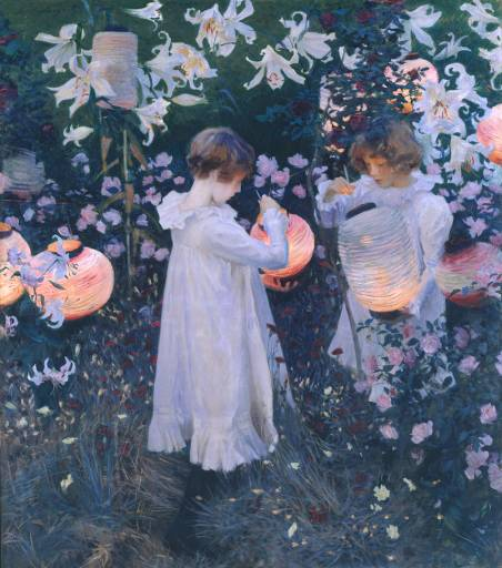 The painting Carnation Lily Lily Rose by John Singer Sargent painted in Broadway, Cotswolds