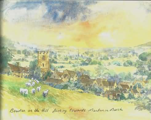 Water colour of Bourton-on-the-Hill