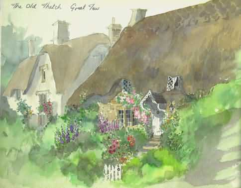 Watercolour of Great Tew by Lesley Holmes