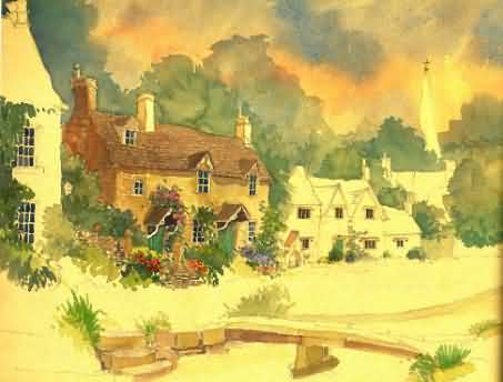 Watercolour of Lower Slaughter