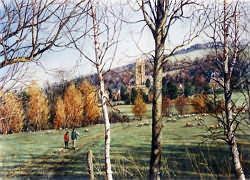 Painting of Ramblers walking near Broadway