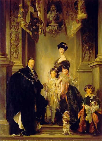 Painting of 9th Duke of Marlborough and American Heiress with children