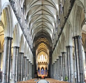 Salisbury is unique amongst medieval English cathedrals