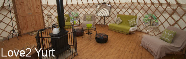 Spacious interior of a Glamping Yurt
