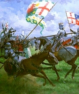 The famous Battle of Bosworth Field, Warwickshire, fought at the end of the Wars of the Roses on 22nd August 1485.