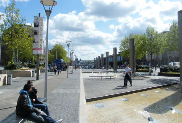 Picture of the walkway water fountains in the city centre
