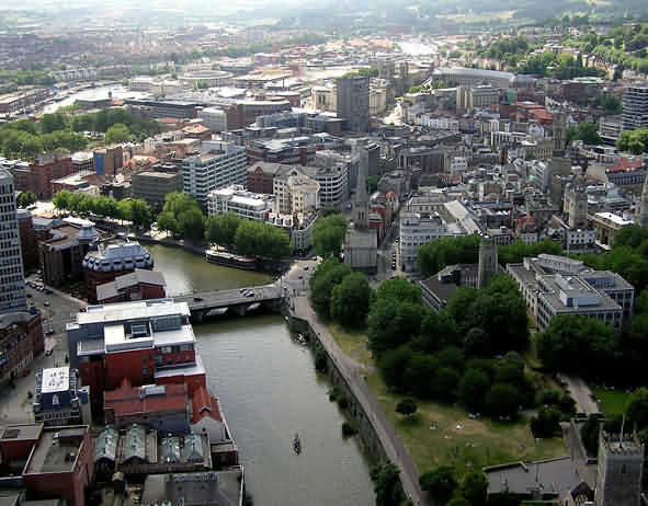Ariel picture of Bristol with the River Avon