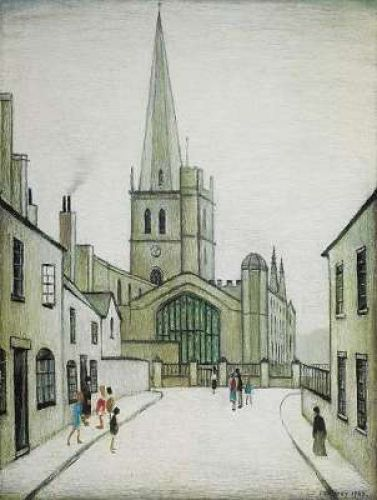 Painting of Burford Church by L.S. Lowry in 1949