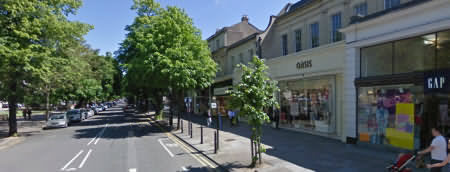 The Promenade is the main shopping street in Cheltenham