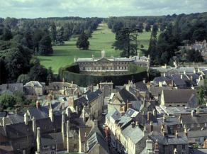 The mansion home of the Earls of Bathurst with Cirencester Park in the background
