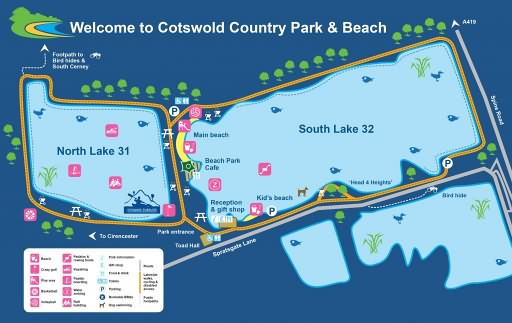 Map of Cotswold Country Park and Beach