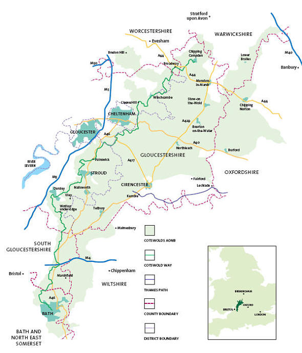 Map of the Cotswolds Area of Outstanding Natural Beauty