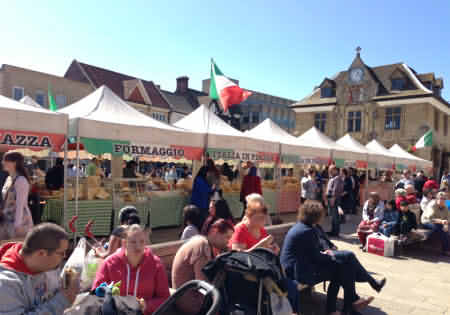 Italian market at Bradford-on-Avon