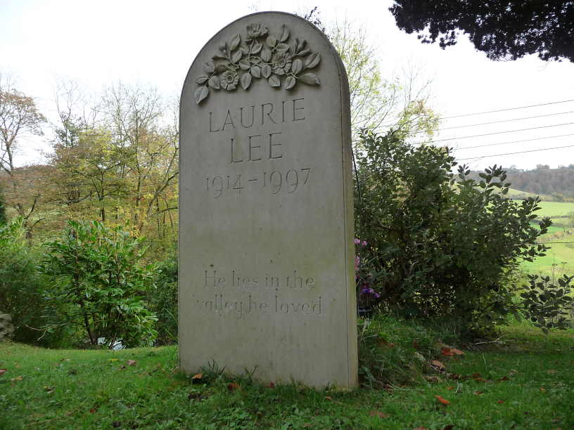 Laurie Lee gravestone in the churchyard at Slad