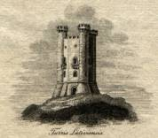"Engraving of Broadway Tower (Latin: ""Turris Lativiensis""), the mark of Sir Thomas Phillipps' Middle Hill Press"