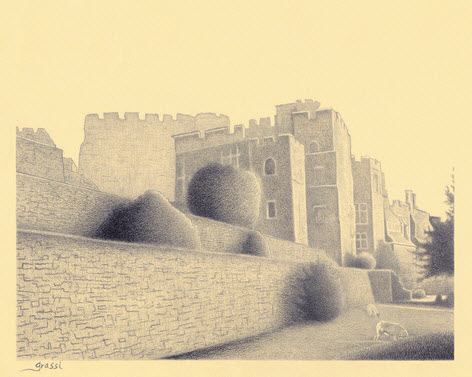 Pencil Sketch of Berkeley Castle by Richard Grassi
