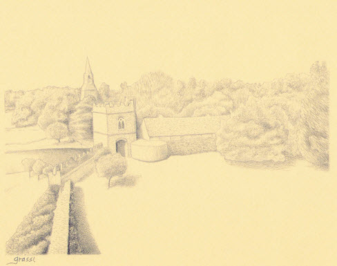 Pencil sketch of Broughton Castle by Richard Grassi