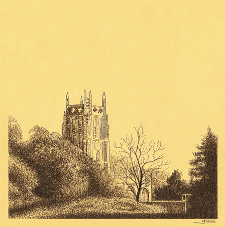 Ink sketch of Fairford Church by Richard Grassi