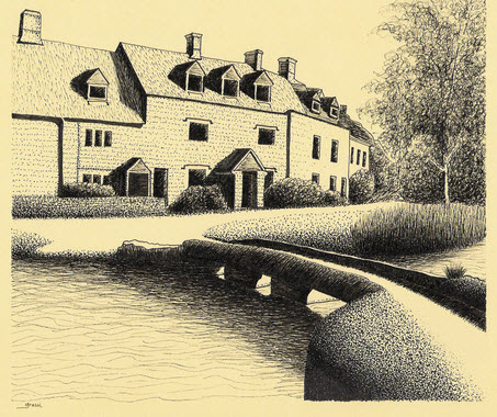 Ink sketch of Lower Slaughter by Richard Grassi