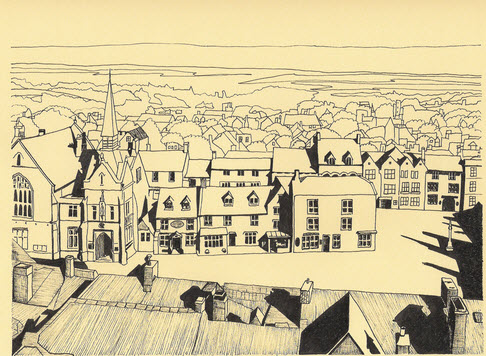 Ink sketch of Stow-on-the-Wold by Richard Grassi