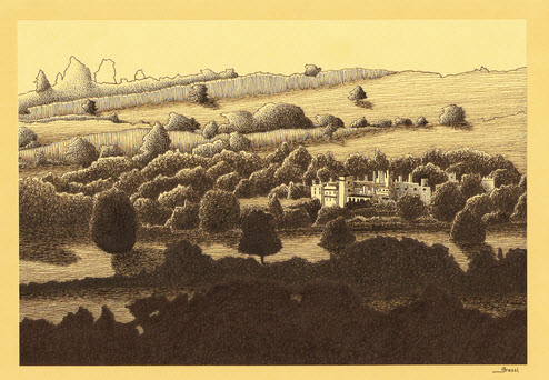 Ink sketch of Sudeley Castle by Richard Grassi