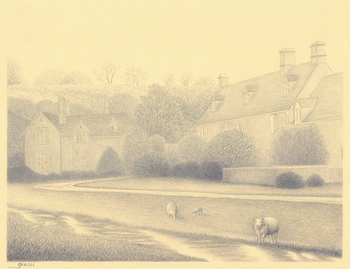 Pencil sketch of Upper Slaughter