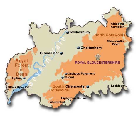 Map Of Gloucestershire Gloucestershire Tourist Information and Travel Guide England UK Map Of Gloucestershire