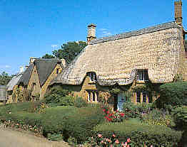 Thatched Cottages In Cotswold Village