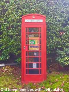 Old English telephone box with a defiibulator