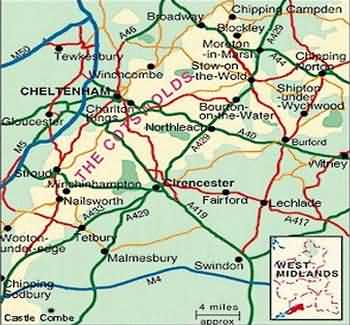 Tour and Travel Maps of the Cotswolds England UK