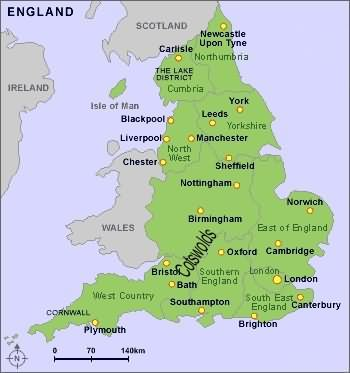 Map Of England Showing Cornwall.Tour And Travel Maps Of The Cotswolds England Uk