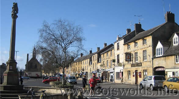 The main high street of Moreton in Marsh next to the Market Square