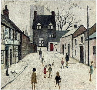 Painting of The Green in Northleach by L S Lowry