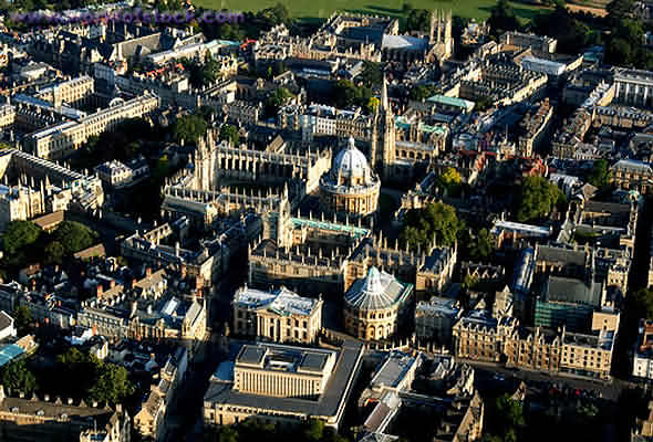 Aerial View of Oxford Colleges