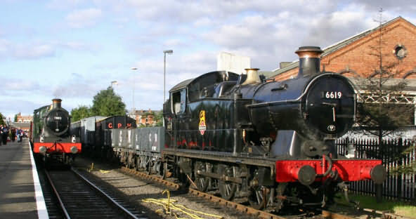 Steam Locomotives at Kidderminster Steam Railway Station on the Severn Valley line
