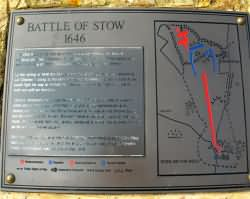 Engraved Map of the Battle of Stow on the Memorial - Click on the image to Enlarge