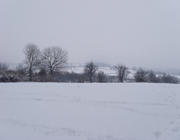 Snow Covered Open Fields around Broadway