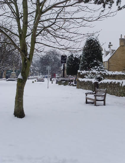 Looking up the high street from the Village Green