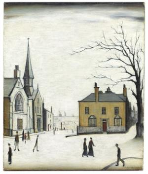 Painting of Stow-on-the-Wold market place by L.S. Lowry
