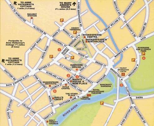 Whats in Stratford upon Avon look at the map and complete with