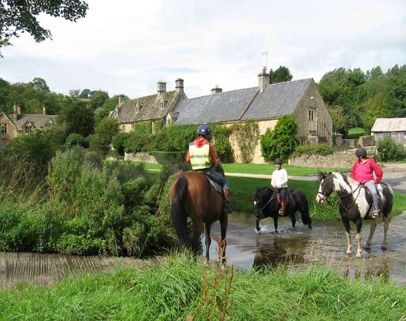 Horses and riders at Upper Slaughter