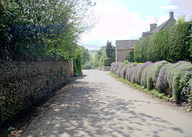 The Main street in Turkdean in the Cotswolds