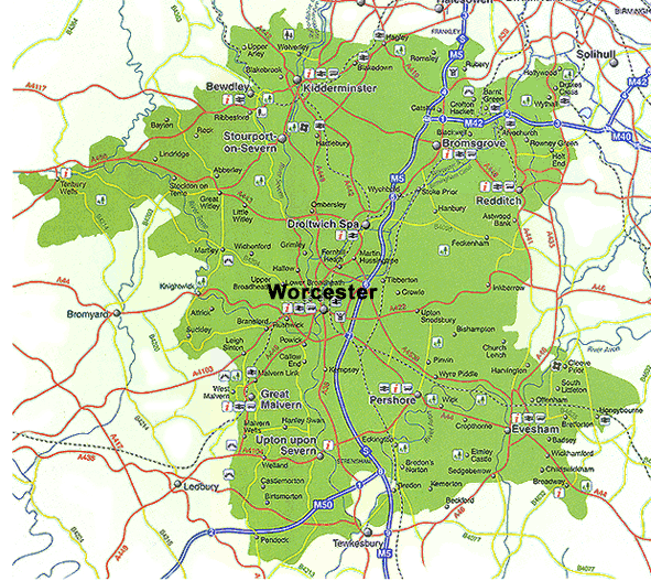 Detailed Map of Worcestershire